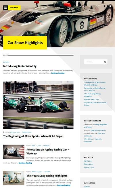 Plantillas en Sitios Web de Autos